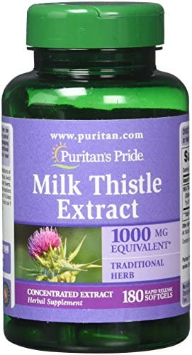 Puritan s Pride Milk Thistle 4 1 Extract 1000 Mg Softgels Silymarin , 180 Count Pack of 2