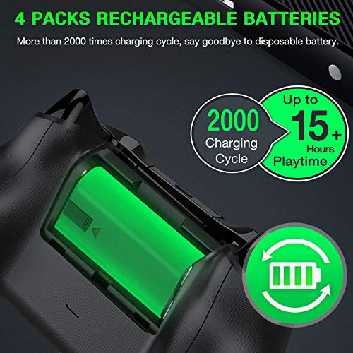 ESYWEN Rechargeable Battery Packs for Xbox One/Xbox Series X|S, 4 X 1200mAh Xbox One Controller Battery Packs, Rechargeable Batteries with Charging Station for Xbox One/One S/One X/One Elite 519 L IwWUL