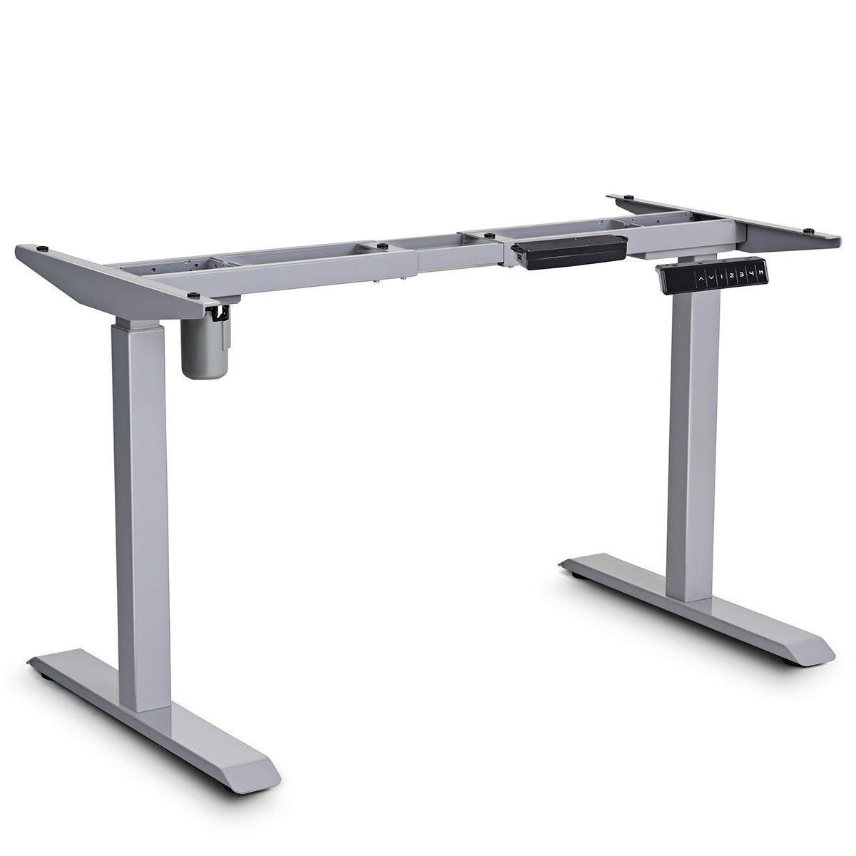 Gray Single Motor Electric Adjustable Height Standing Desk Frame Steel Sit to Stand w/Memory Control with Ebook