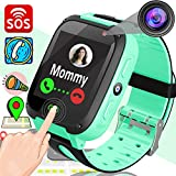Xenzy Smart Watch Phone for Kids GPS Tracker Call Phone Smartwatch Camera SOS Wristband Anti-Lost Alarm Clock Flashlight for Boys Girls Teens Summer Holiday Outdoor Activity Sport Wristband (Green)