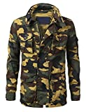 URBANCREWS Mens Hipster Hip Hop Basic Button up Field Jacket Woodland, 2XL