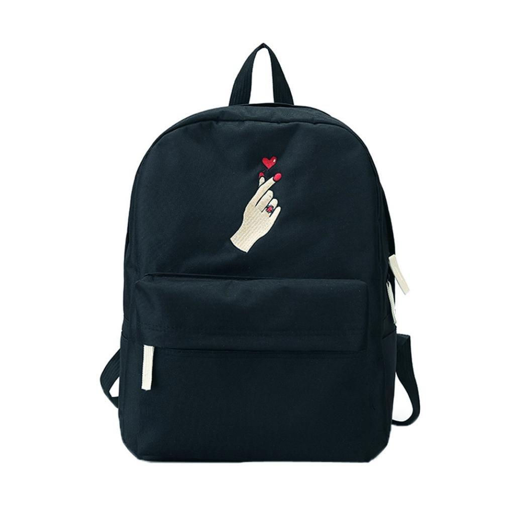 Sunward Boys or Girl's Casual Finger Travel Daypack School Backpack Rucksack Shoulder Bag (Black)