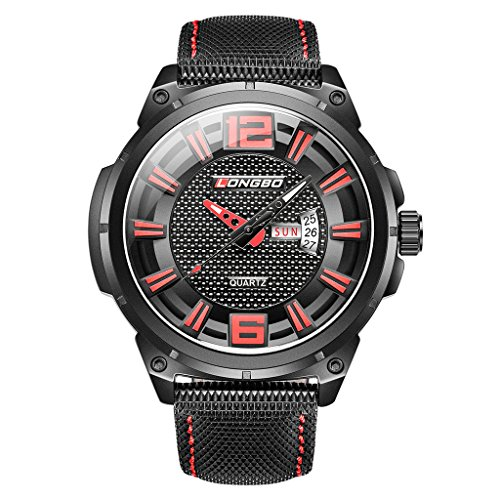 LONGBO Sportive Mens Unique Black Leather Band Military Big Face Watches Red Index Black Dial Auto Date Day Wristwatches Luminous Waterproof Business Analog Quartz Watch for Man -