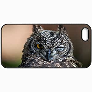 Customized Cellphone Case Back Cover For iPhone 5 5S, Protective Hardshell Case Personalized Owl Bird Mood Flashes Eye Black