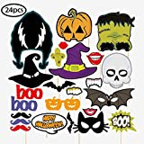 Happy Halloween Photo Booth Props Kit, Skull Witch Hat Pumpkin Bat DIY Pose Sign Party Decoration Supplies - 24 Printed Pieces with Sticks