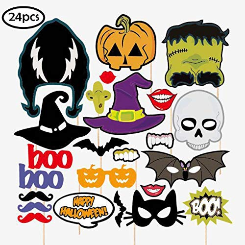 COKOHAPPY Happy Halloween Photo Booth Props Kit, Skull
