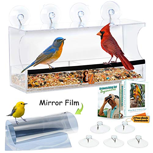 Window Bird Feeder, 2 Way Mirror Film, Strong Suction Cups, Easy Lift Tray that WONT Fall Out Like Sliding Trays, Indoor Cats LOVE It, Weatherproof, Bird Feeders for Outside, Great For Kids & Elderly (Best Way To Clean Inside Window Sills)