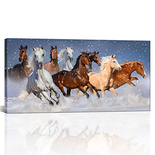 Large Modern Wall Painting White and Brown Running Horses in the Snow Wild Animals Prints on Canvas Framed Animal Painting for Living Room Ready to Hang 24