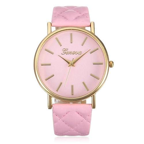 Franterd® Damen-Armbanduhr Elegant Uhr Modisch Zeitloses Design Klassisch Leder Römische Ziffern-Leder-analoge Quarzuhr Armbanduhr Rosa