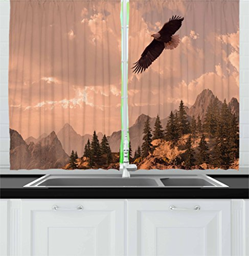 Ambesonne Eagle Kitchen Curtains, Nature Photography of Rocky Mountains and Forest with a Bald Eagle Flying over It, Window Drapes 2 Panel Set for Kitchen Cafe, 55 W X 39 L Inches, Rose Green