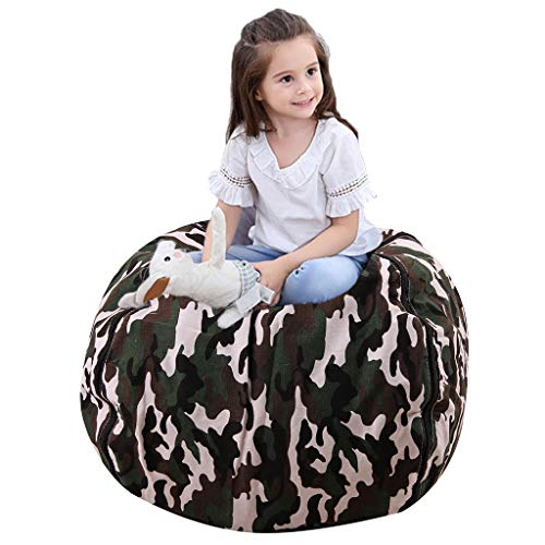 Gatycallaty Child Bean Bag Sofa Chair Storage Bags Beanbag Chair Fabric Clothes Bag Sofa Lounger Cotton Canvas Bag - Premium Quality Canvas - Storage Solution for Bedroom ()
