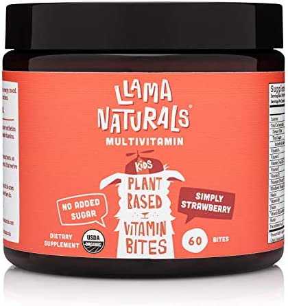 Llama Naturals Plant Based Vitamin Bites (Kids); Organic; No Added Sugar, Sweeteners or Synthetics; Vegan Multivitamin Gummies (C, D3, B12, Folate & More); 60 Real Fruit Bites (30 Days) (Strawberry) 1