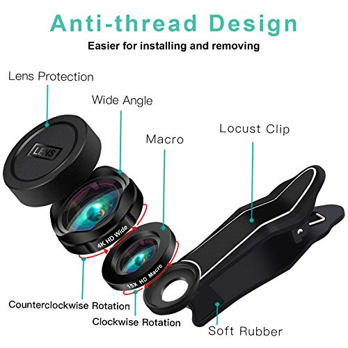 Phone Camera Lens, AiKEGlobal 2 in 1 Macro Lens,Wide Angle Lens, Universal Cell Phone Lens Kit Great Compatible iPhone, Android, iPad and Tablets by AiKEGlobal (Image #5)