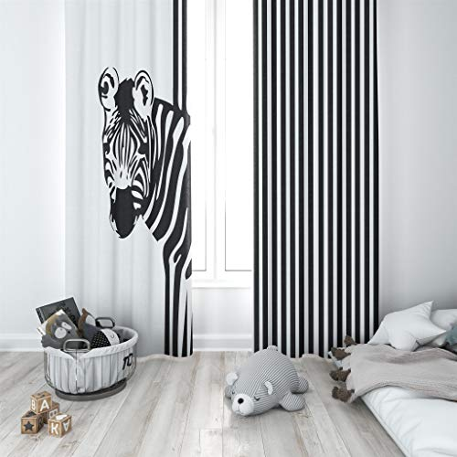 Factory4me Zebra Window Curtains | Modern Black and White Striped Print Curtain Panel Set | Ideal for Bedroom, Living Room, Kitchen | L84 x W84 ()