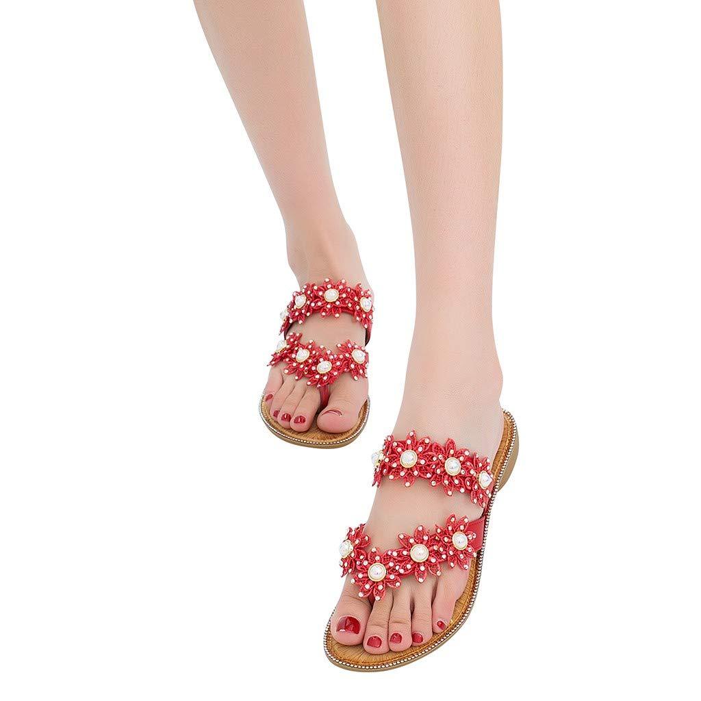 Summer/Women Ladies/ Bohemia Flower Crystal Flat Sandals Beach Peep Toe/Shoes