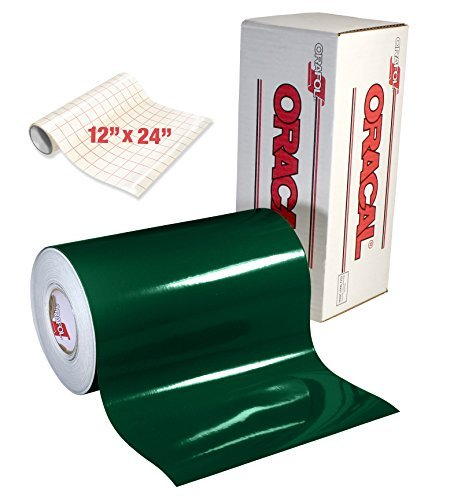ORACAL 651 Gloss Dark Green Adhesive Craft Vinyl for Cameo, Cricut & Silhouette Including Roll of Clear Transfer Paper (6ft x (Dark Green Vinyl)