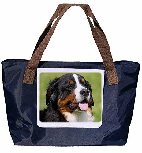 Shopper /Schultertasche / Einkaufstasche / Tragetasche / Umhängetasche aus Nylon in Navyblau - Größe 43x33cm - Motiv: Berner Sennenhund Porträt - 06