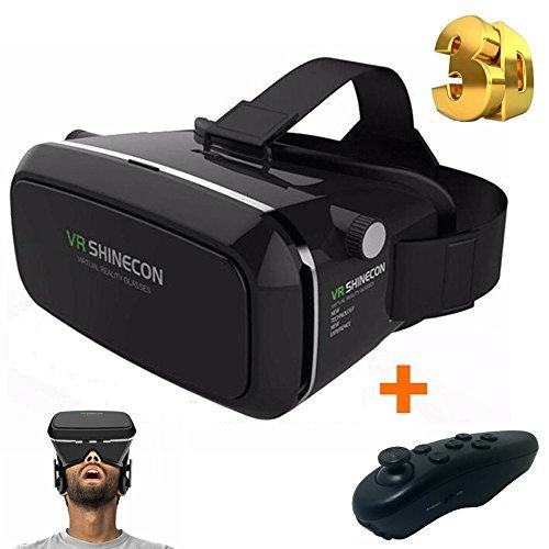 VRAVER 3D VR Universal Brille Superset mit Bluetooth Controller und deutscher Bedienungsanleitung. VR Shinecon Virtual Reality Headset für 3,5- 6 Zoll Smartphone Google Pappkarton Upgraded Version für iOS und Android Head-Mounted Display ähnlich Oculus Rift PlayStation VR usw. Passend für IPhone SE 6, Samsung Galaxy S5 S6 S7 etc.