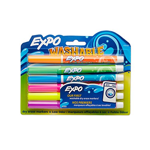 Amazon.com : Expo Washable Dry Erase Markers, Fine Point, 6-Pack ...