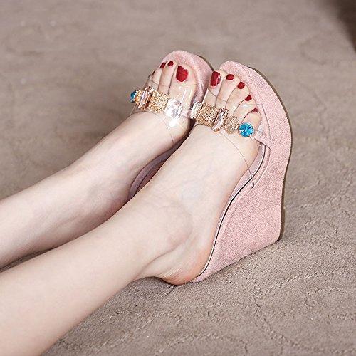 Sandals Feifei Women's High Heel Summer Waterproof Platform Rhinestone Thick Bottom Slippers Bohemia Open Toe Slope 12CM Pink SxWTztm