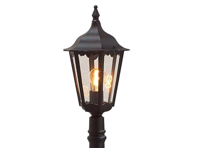 Konstsmide Firenze 7215-750 - Farola (23,5 x 23,5 x 120 cm, 1 bombilla de 100 W, IP43, aluminio lacado, acabado mate), color negro