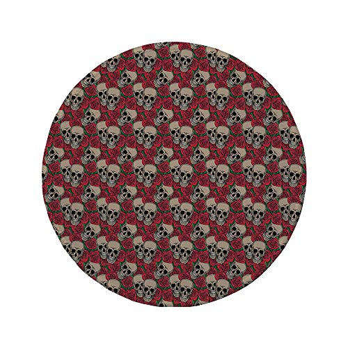 (Non-Slip Rubber Round Mouse Pad,Rose,Graphic Skulls and Red Rose Blossoms Halloween Inspired Retro Gothic Pattern,Vermilion Tan)