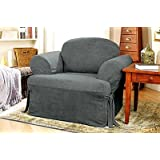 Sure Fit Soft Suede T-Cushion Chair Slipcover, Smoke Blue [Misc.]