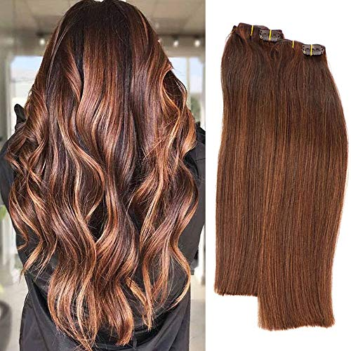 Labetti Highlights Clip in Human Hair Extensions Medium Brown to Medium Auburn Silky Straight Double Weft Remy Hair Clip in Extensions 7 Pcs 70 Gram 18 inch for Women