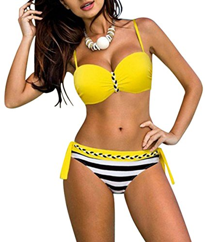 Tengweng Fashion Push Up Bikini Set Striped Print Swimsuit Candy Padded Swimwear M Yellow