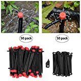 """Youngneer 50PCS Drip Irrigation Emitters Adjustable Micro Bubbler + 50PCS Stake Support 1/4"""" Hose Greenhouse Patio Garden Flower Bed Stake Sprayer Sprinklers"""