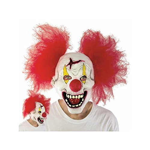 2 pcs/set Halloween Latex Clown Mask With Hair for Adults,Halloween Costume Party Props Masks (red) ()