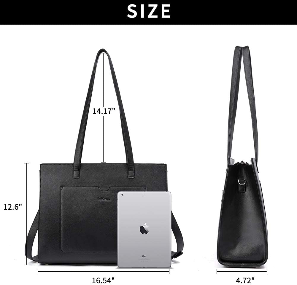 BROMEN Laptop Tote Bag 15.6 inch Briefcases for Women Stylish Business Office Work Tote Bag Black