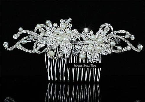 Gina Freshwater Pearl & Crystal Swirl Wedding Bridal Special Occasion (Freshwater Pearl Swirl)