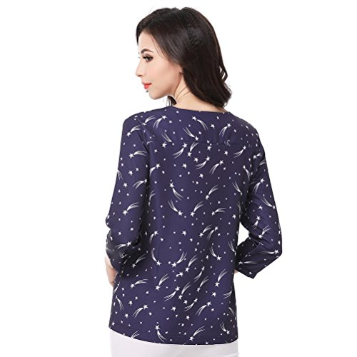 Glorria Women Elegant Print V-Neck Three Quarter Blouses Summer Casual Fashion Wear to Work Black Shirts
