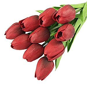 Yezijin 30 pcs Real-Touch Artificial Tulip Flowers Home Wedding Party Decor 11