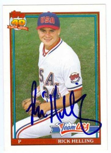 Rick Helling autographed 1991 Topps Traded Baseball Card Team USA Baseball #54T