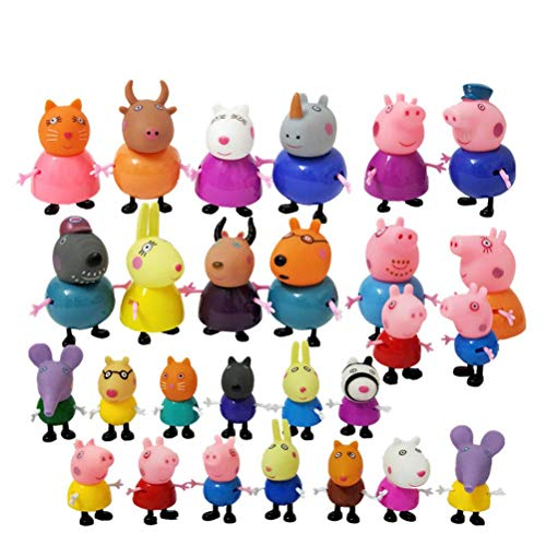 LQT Ltd 25pcs/Set Pep-pas Pig George Friend Family Pack Dad Mom Action Figure Original Pelucia Anime Toys Boy Girl Gift Set -