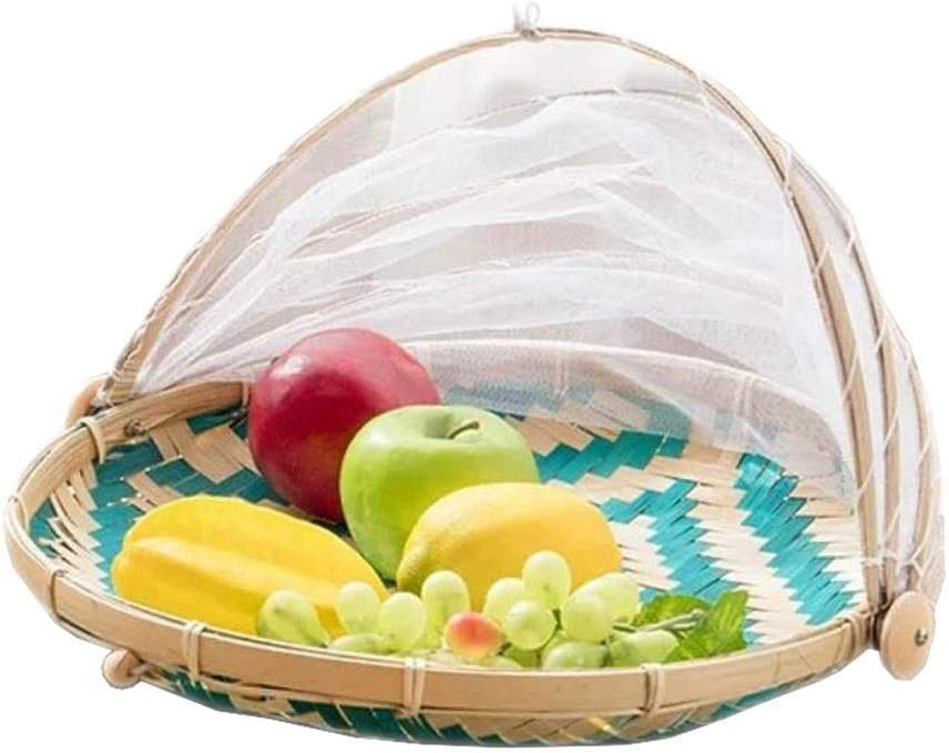 Food Serving Tent Basket - BESTCHANCEUS Hand-Woven Bamboo-Serving-Basket Dustproof-Bug-Proof Mosquitoesor Vegetable Fruits Food Meals Blue Round Dia.30cm