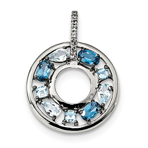 21mm Sterling Silver Blue Topaz and Cubic Zirconia Circle Pendant
