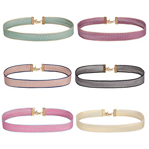 BodyJ4You Necklace Choker Set Women's Mix Color Ribbon Adjustable Collar 6-Pieces