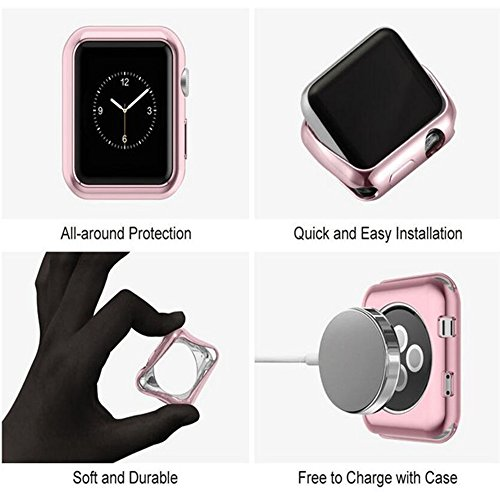 GerTong Apple Watch Case 42mm Slim Soft TPU Full Cover Case for Apple Watch Series 3/2/1/Nike+ Sport Edition 42mm (Black) by GerTong (Image #4)