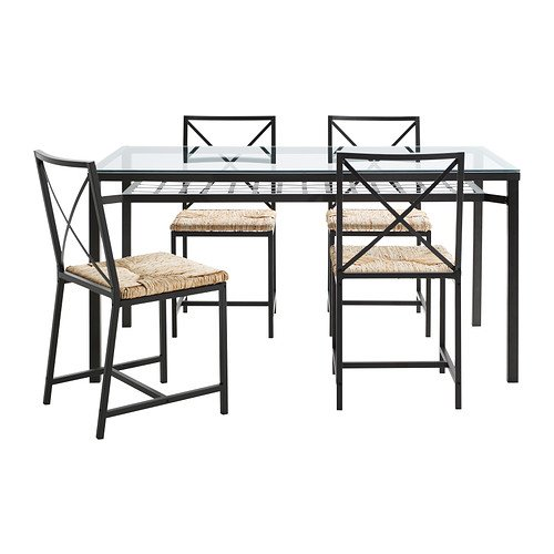 Ikea Table and 4 chairs, black, glass 1626.2382.2238