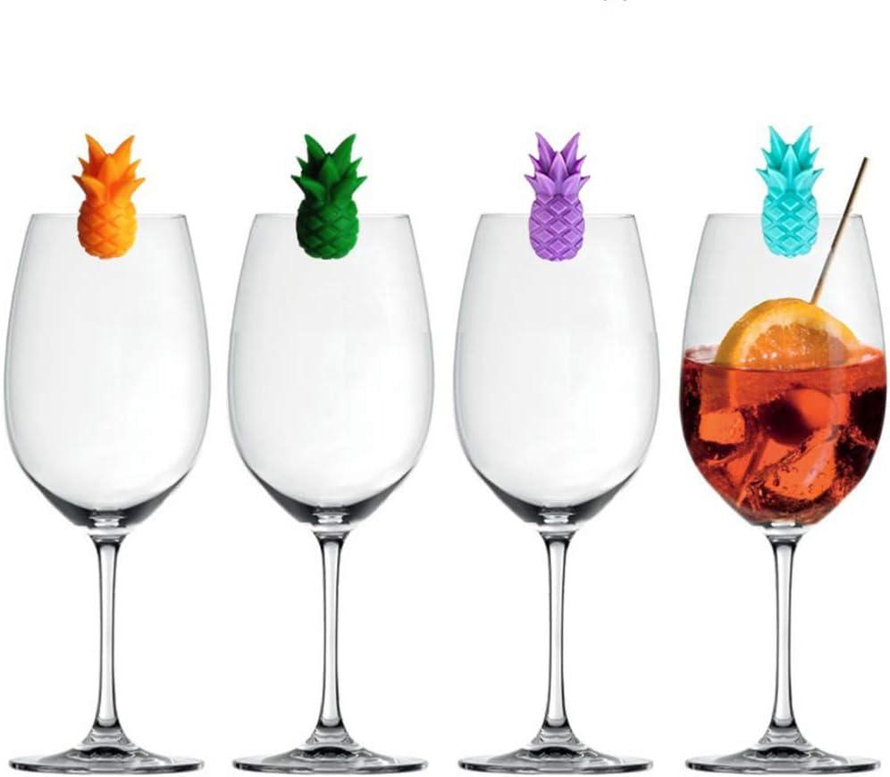 Cabilock 6 St/ücke Glasmarkierer Silikon Ananas Getr/änkemarker Cocktail Champagner Rotwein Trinkbecher Markierung Party Bar Zuhause Restaurant Halloween Weihnachten Zuf/ällige Farbe