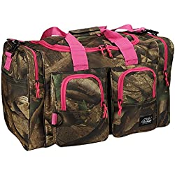 Womens Outdoor Hunters Camo Pink 26 Inch Duffel Gear Sport Gym Shoulder Bag with Key Ring Carabiner
