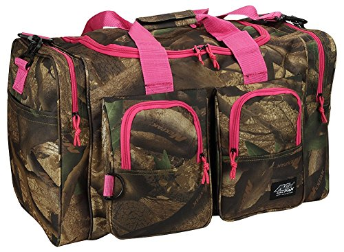 Womens Outdoor Hunters Camo Pink 26 Inch Duffel Gear Sport Gym Shoulder Bag with Key Ring Carabiner -