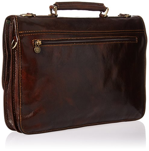 Luggage Depot USA, LLC Men's Alberto Bellucci Italian Leather Double Gusset D. Brn Laptop Messenger Bag, Dark Brown, One Size by Luggage Depot USA, LLC (Image #1)