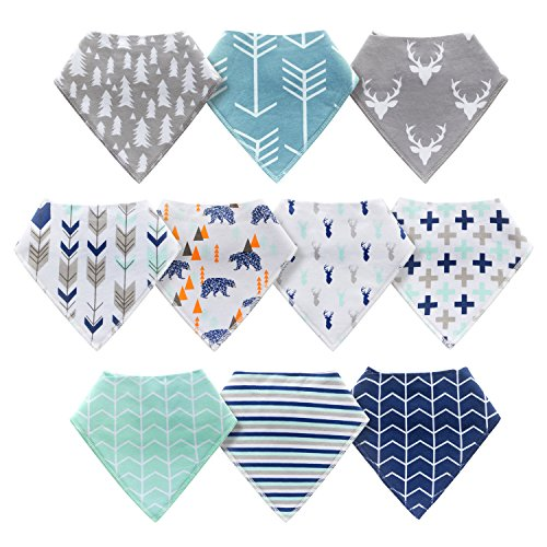 10-Pack Baby Bandana Drool Bibs for Drooling and Teething Boys Girls by MiiYoung by MiiYoung (Image #1)