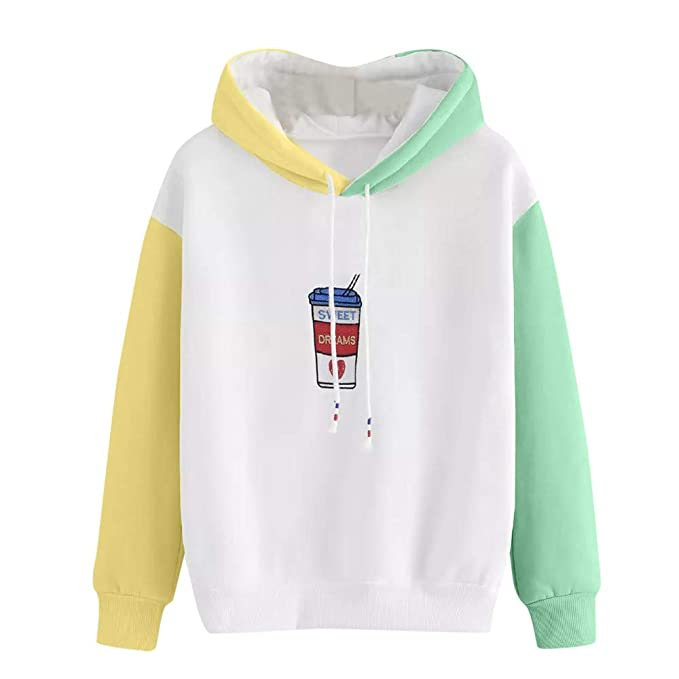 Birdfly Women Girl Fall Winter Hoodie Cute Yellow Green Patchwork Blouse Top with Drink Pattern Cheap Clearance at Amazon Womens Coats Shop