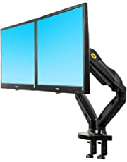 "North Bayou F160 Dual Monitor Full Motion Desk Mount with Gas Spring for Two Computer Monitors 17'' - 27"" LED LCD Flat Panel TVs from 2kg Upto 6.5kg per arm."