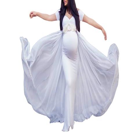 Embarazada Encaje Larga Vestido de Maternidad Split Foto Shoot ...